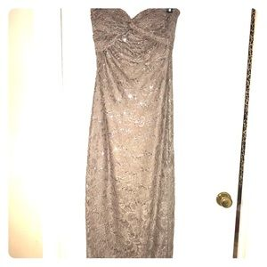 Strapless Silver, sequin prom dress